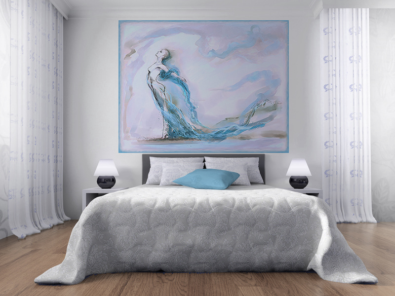 papier peint tableau en tete de lit