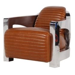 fauteuil club cuir metal